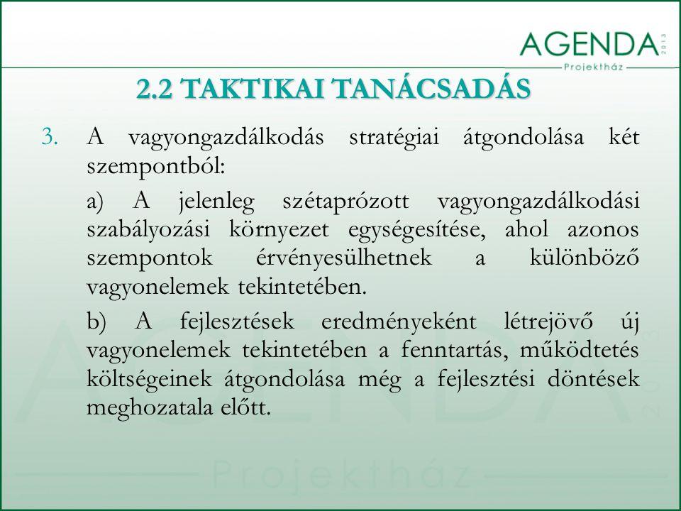 2.2 TAKTIKAI TANÁCSADÁS A vagyongazdálkodás stratégiai átgondolása két szempontból: