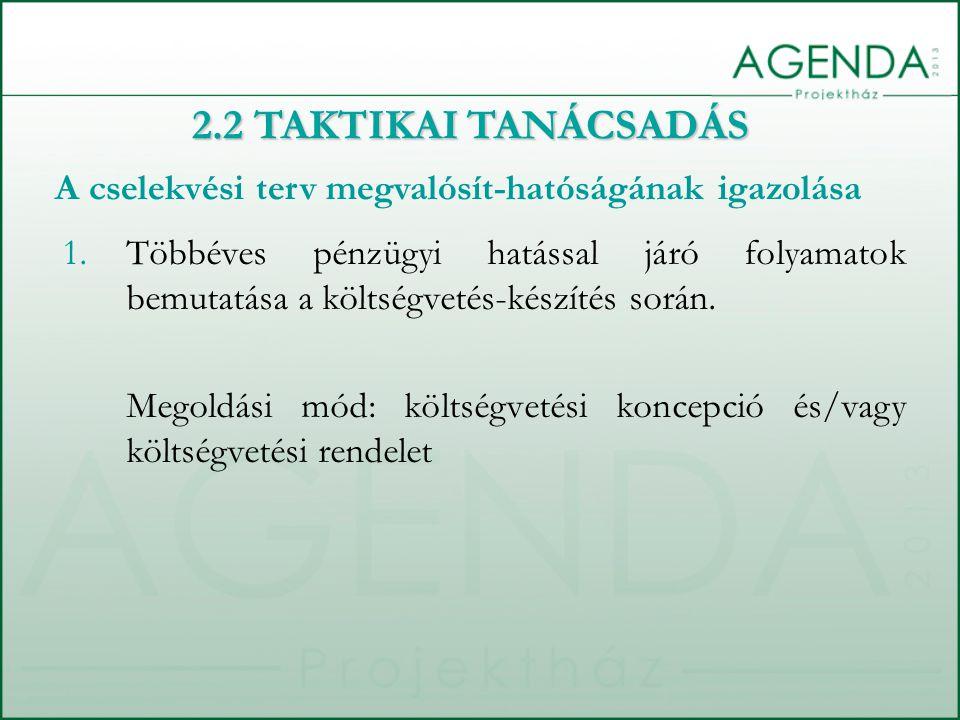 2.2 TAKTIKAI TANÁCSADÁS A cselekvési terv megvalósít-hatóságának igazolása.