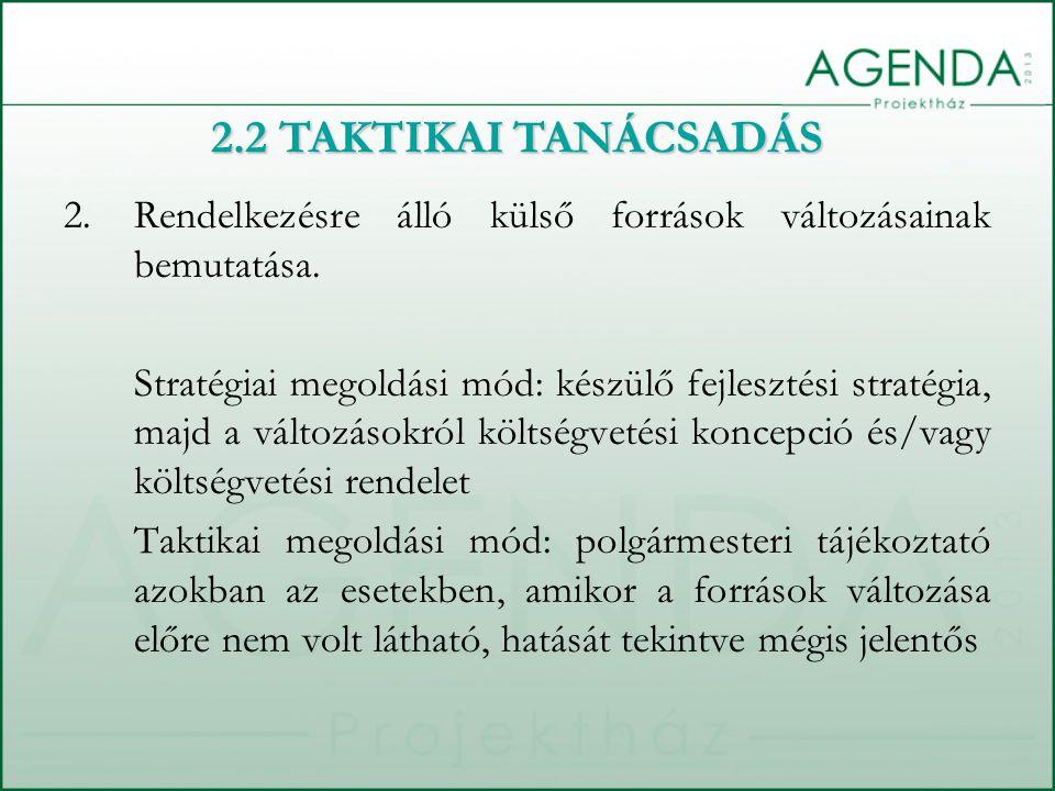 2.2 TAKTIKAI TANÁCSADÁS Rendelkezésre álló külső források változásainak bemutatása.