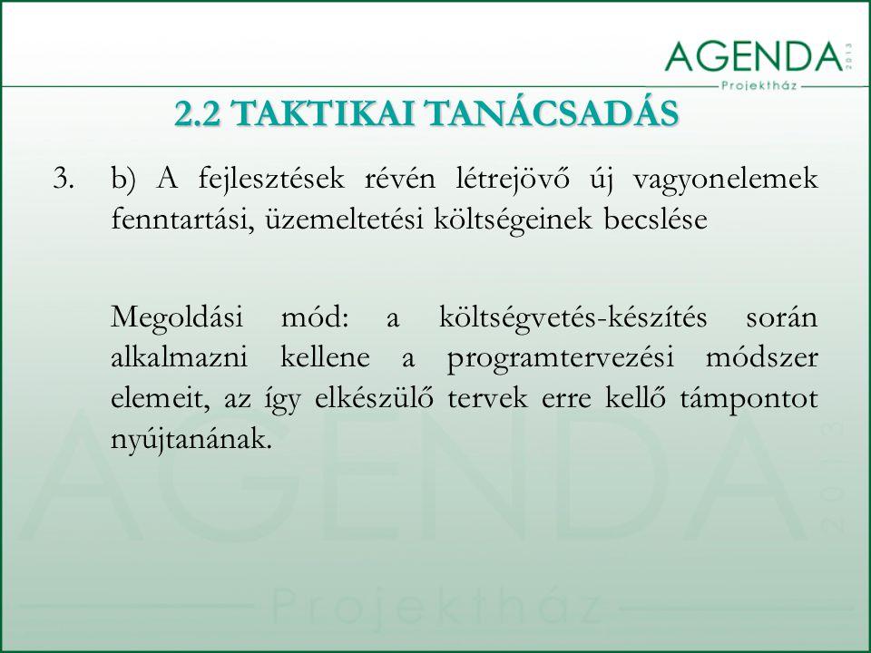 2.2 TAKTIKAI TANÁCSADÁS b) A fejlesztések révén létrejövő új vagyonelemek fenntartási, üzemeltetési költségeinek becslése.