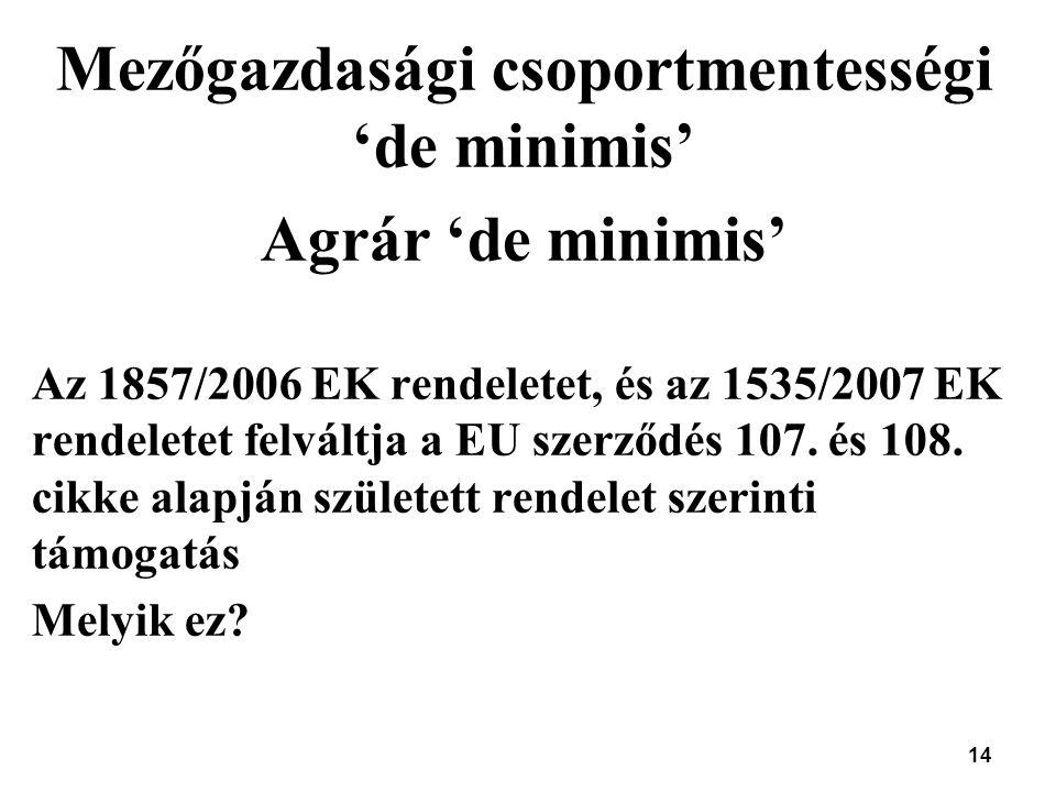 Mezőgazdasági csoportmentességi 'de minimis'