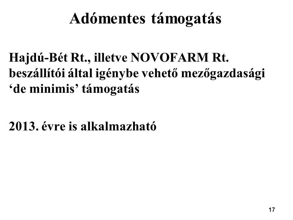 Adómentes támogatás Hajdú-Bét Rt., illetve NOVOFARM Rt. beszállítói által igénybe vehető mezőgazdasági 'de minimis' támogatás.