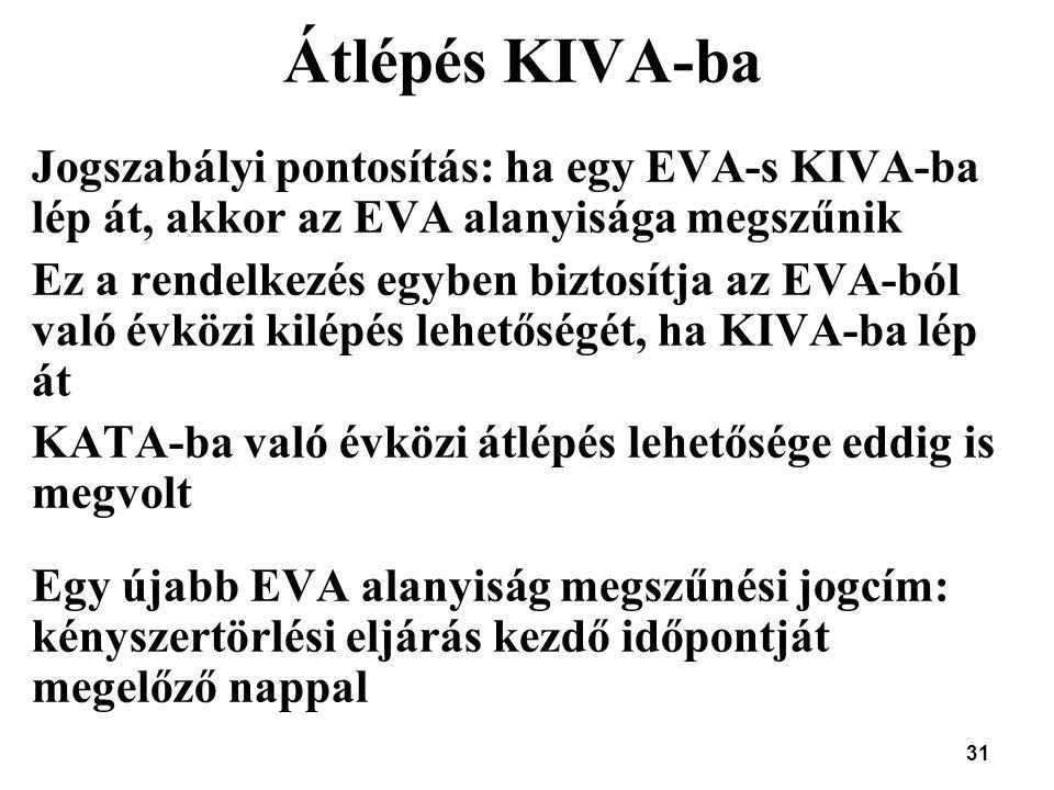 Átlépés KIVA-ba Jogszabályi pontosítás: ha egy EVA-s KIVA-ba lép át, akkor az EVA alanyisága megszűnik.