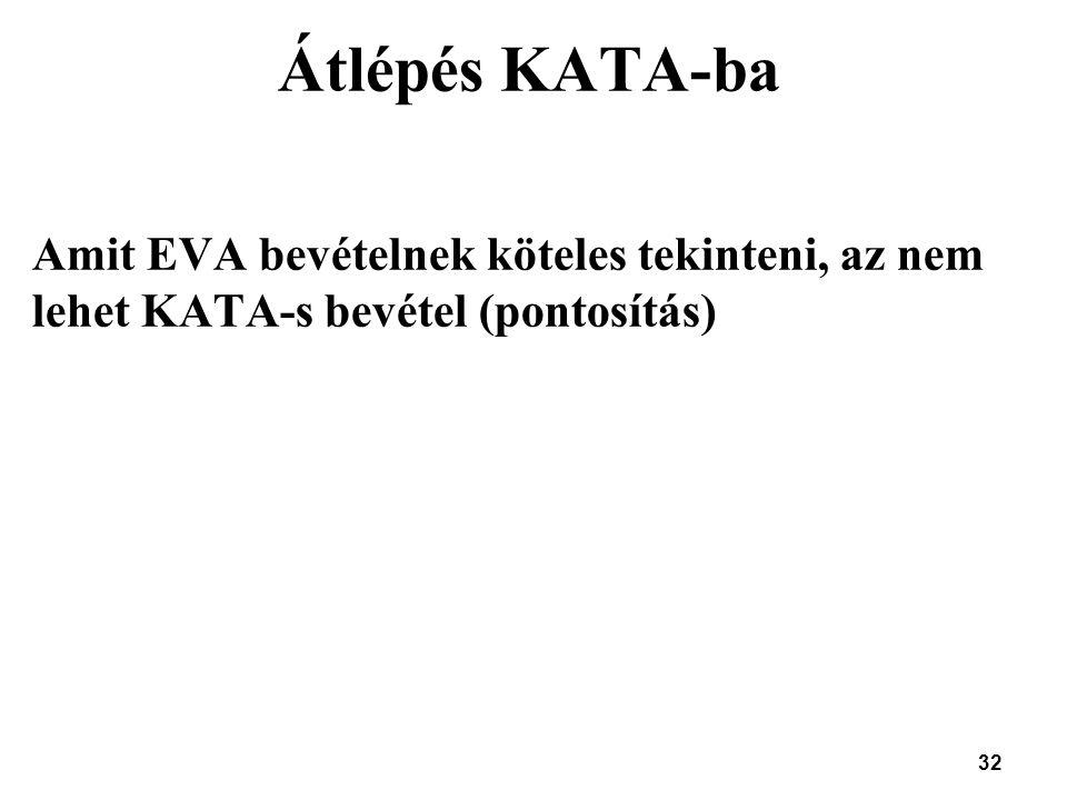 Átlépés KATA-ba Amit EVA bevételnek köteles tekinteni, az nem lehet KATA-s bevétel (pontosítás) 32