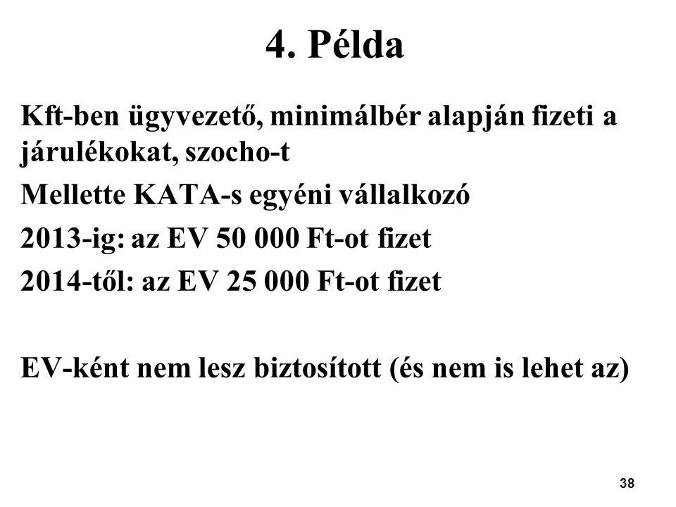 4. Példa Kft-ben ügyvezető, minimálbér alapján fizeti a járulékokat, szocho-t. Mellette KATA-s egyéni vállalkozó.