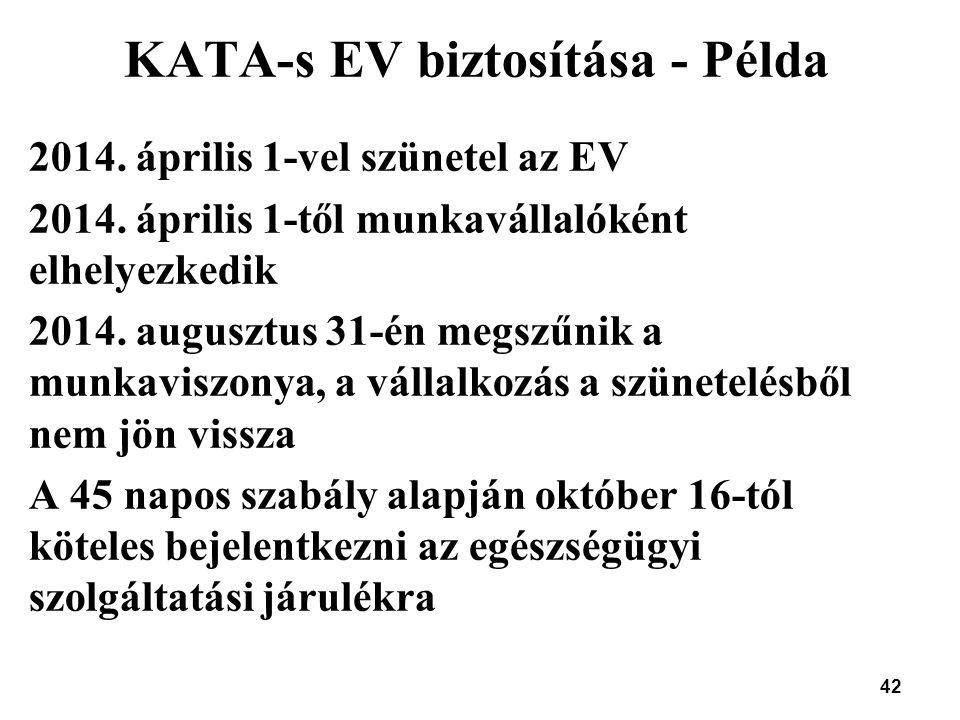 KATA-s EV biztosítása - Példa