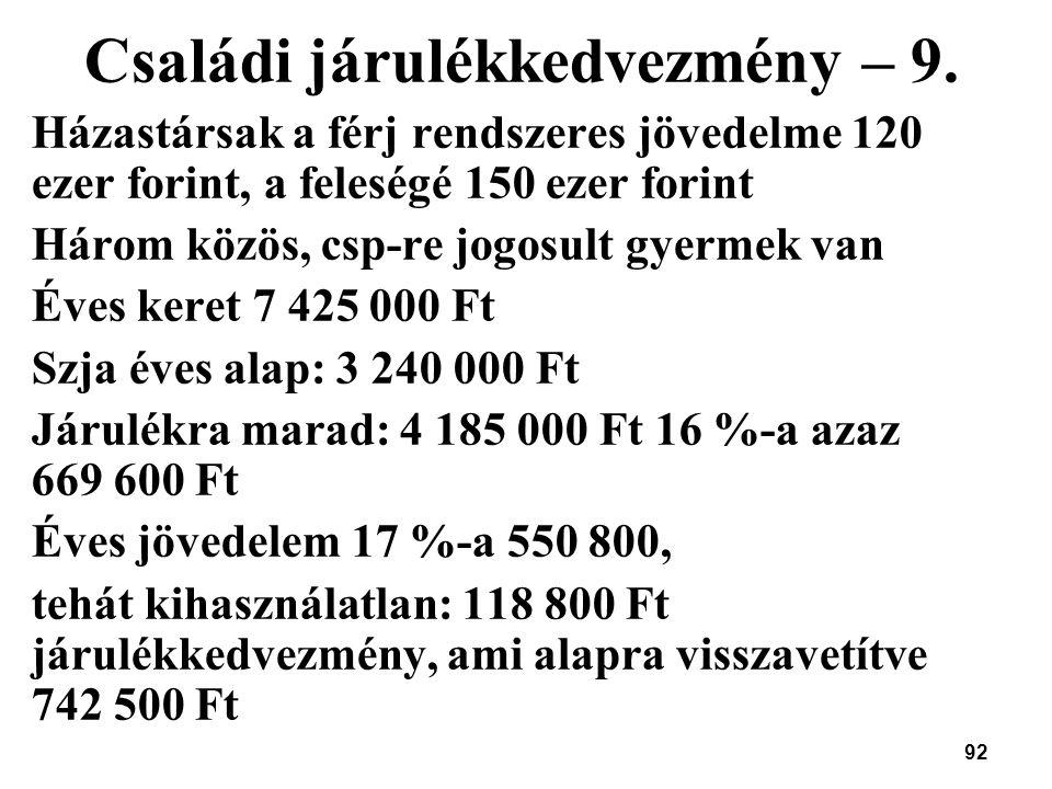 Családi járulékkedvezmény – 9.