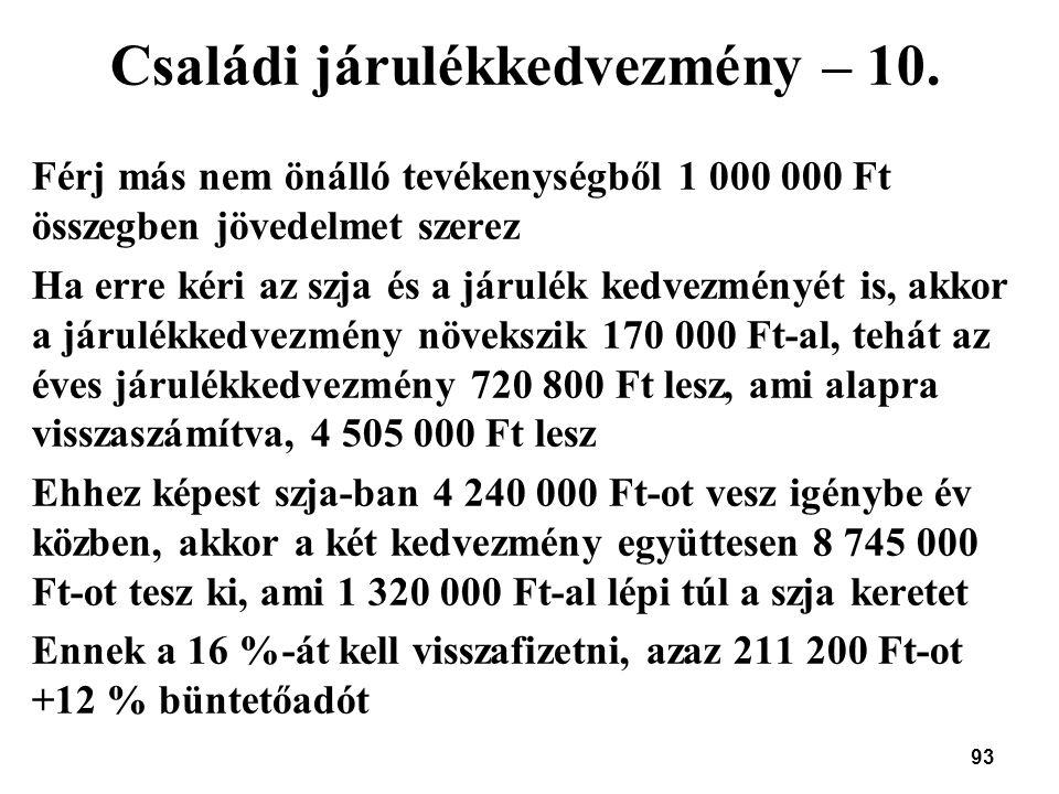 Családi járulékkedvezmény – 10.