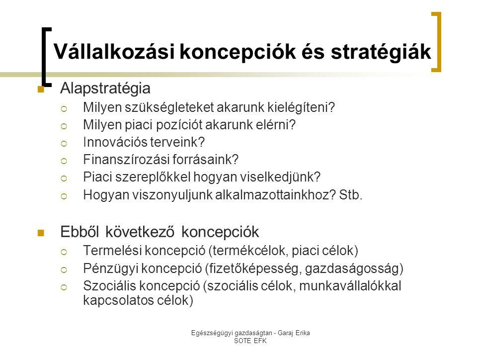 Vállalkozási koncepciók és stratégiák