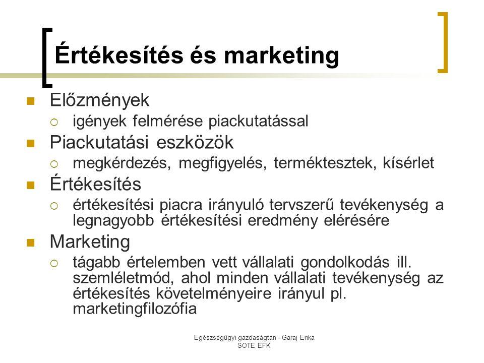 Értékesítés és marketing