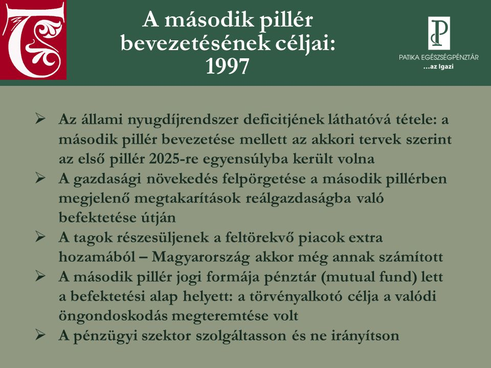 A második pillér bevezetésének céljai: 1997