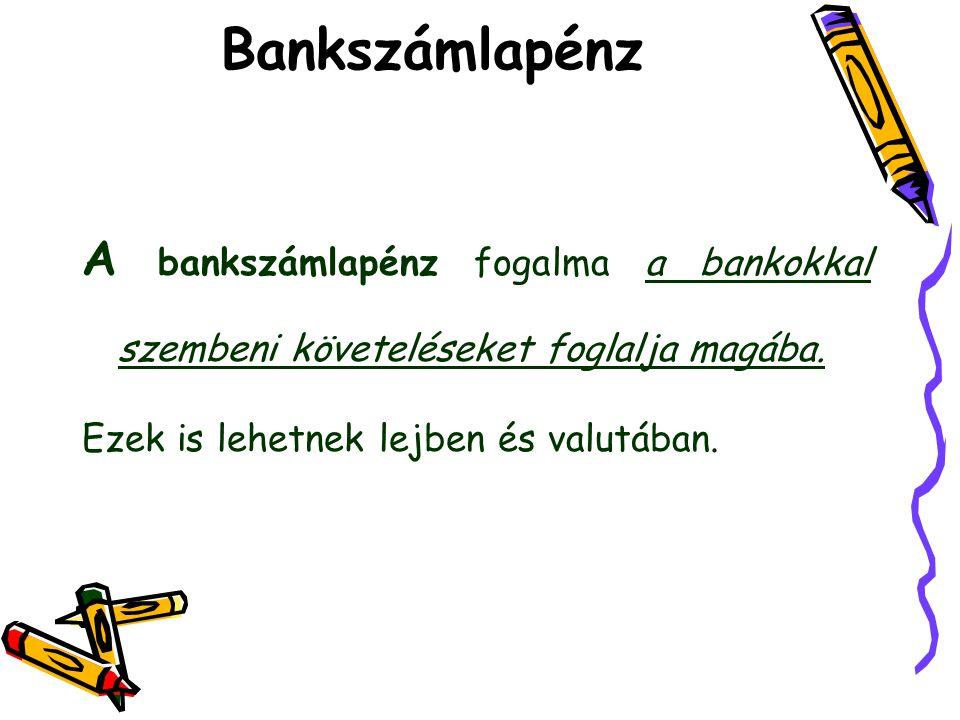 Bankszámlapénz A bankszámlapénz fogalma a bankokkal szembeni követeléseket foglalja magába.