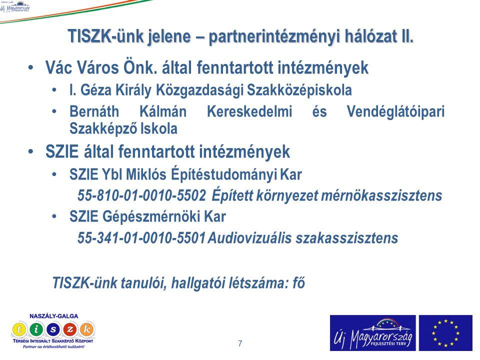 TISZK-ünk jelene – partnerintézményi hálózat II.