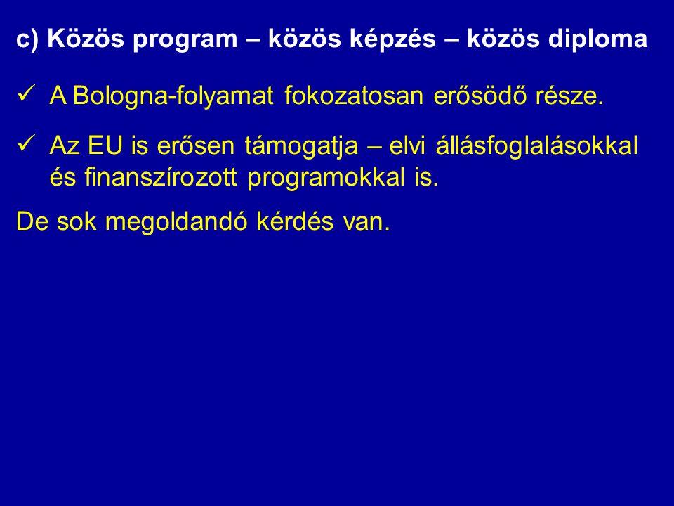 c) Közös program – közös képzés – közös diploma