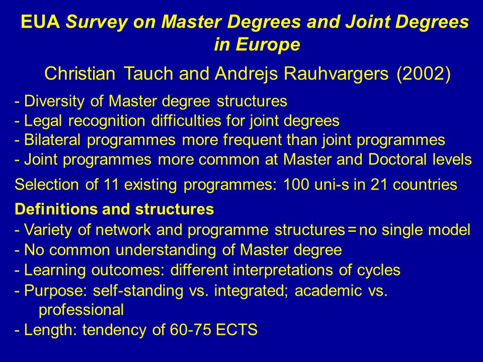 EUA Survey on Master Degrees and Joint Degrees in Europe