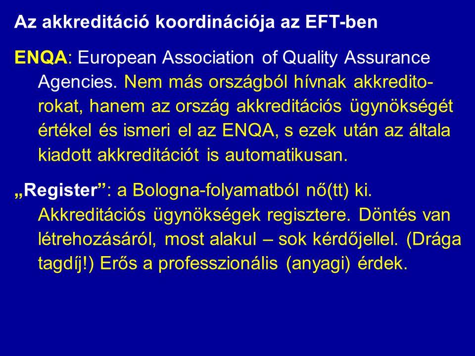 Az akkreditáció koordinációja az EFT-ben