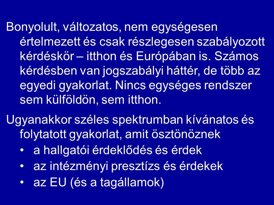 Bonyolult, változatos, nem egységesen értelmezett és csak részlegesen szabályozott kérdéskör – itthon és Európában is. Számos kérdésben van jogszabályi háttér, de több az egyedi gyakorlat. Nincs egységes rendszer sem külföldön, sem itthon.