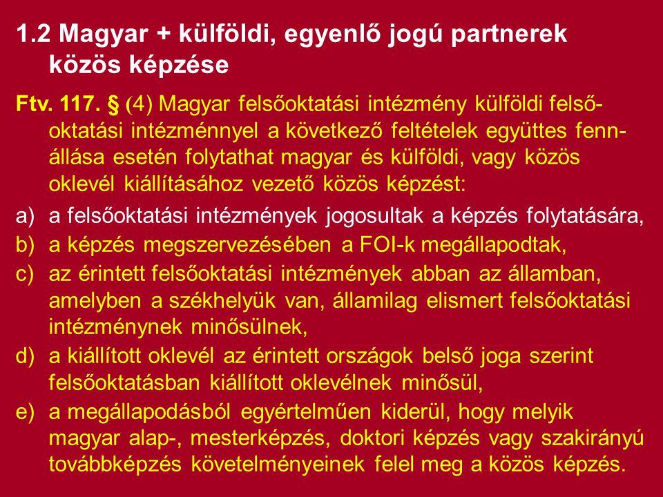 1.2 Magyar + külföldi, egyenlő jogú partnerek közös képzése