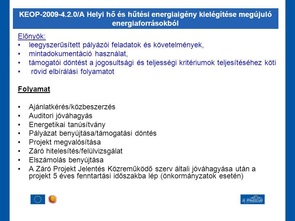 KEOP-2009-4.2.0/A Helyi hő és hűtési energiaigény kielégítése megújuló energiaforrásokból