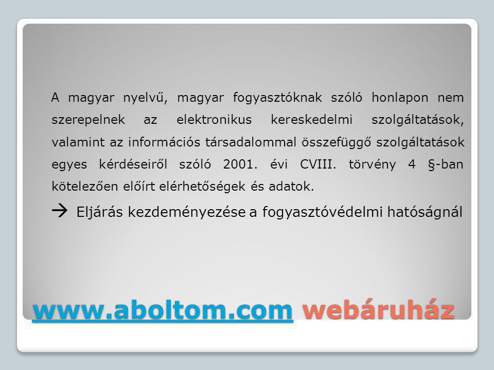 www.aboltom.com webáruház