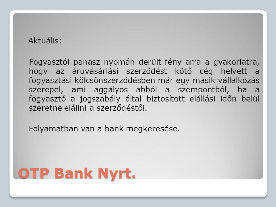 OTP Bank Nyrt. Aktuális:
