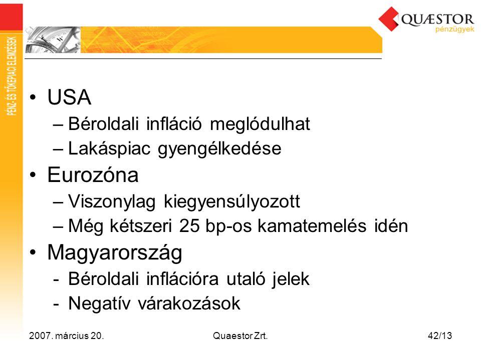 USA Eurozóna Magyarország Béroldali infláció meglódulhat