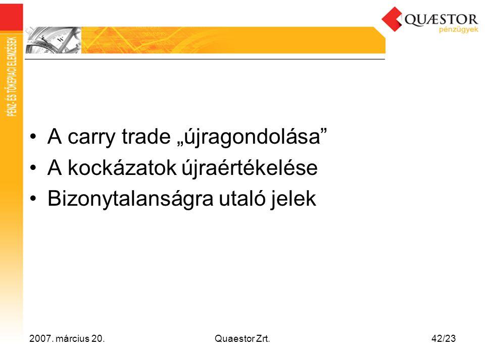 """A carry trade """"újragondolása A kockázatok újraértékelése"""