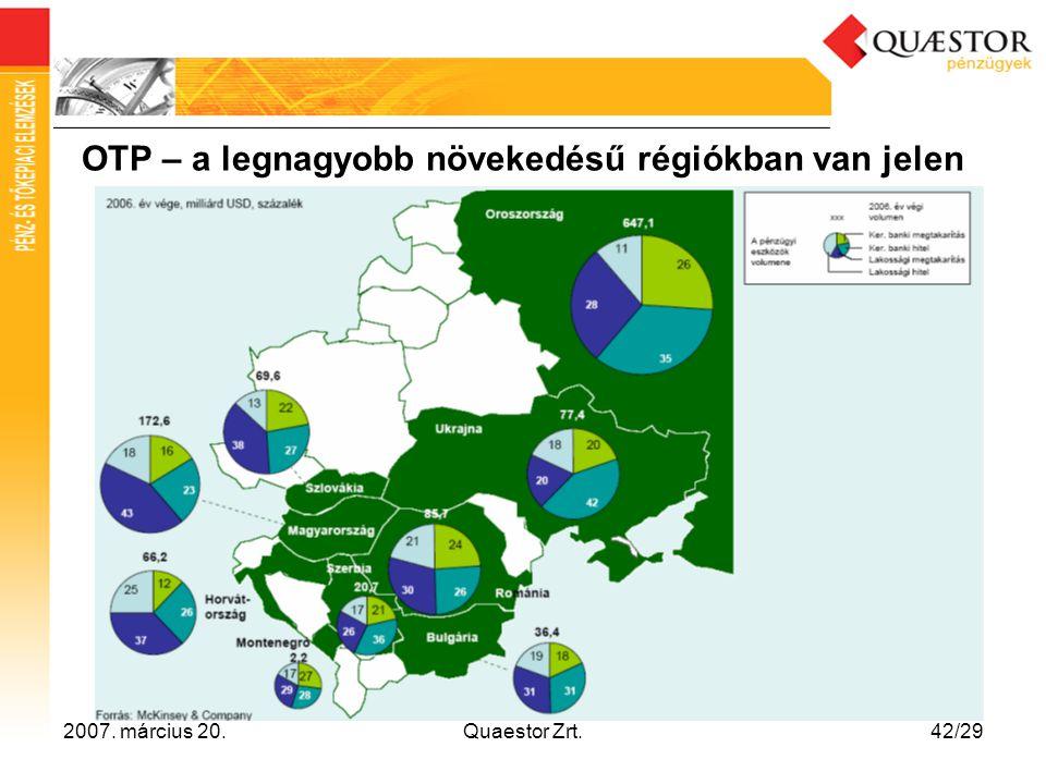 OTP – a legnagyobb növekedésű régiókban van jelen