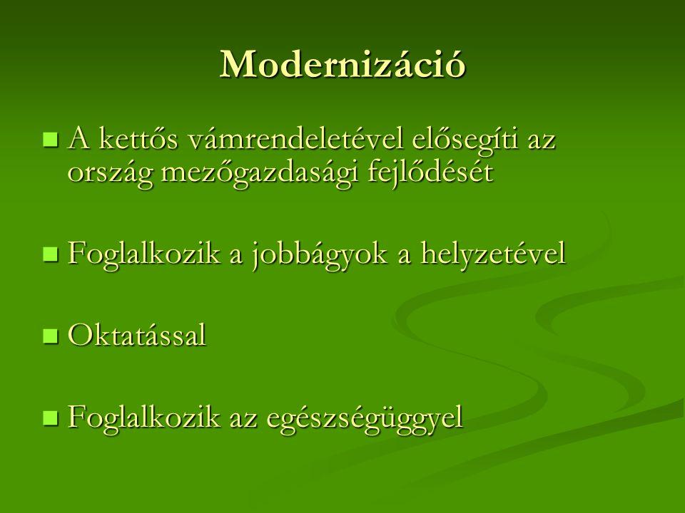 Modernizáció A kettős vámrendeletével elősegíti az ország mezőgazdasági fejlődését. Foglalkozik a jobbágyok a helyzetével.