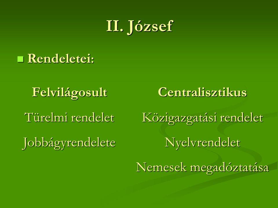 II. József Rendeletei: Felvilágosult Türelmi rendelet Jobbágyrendelete