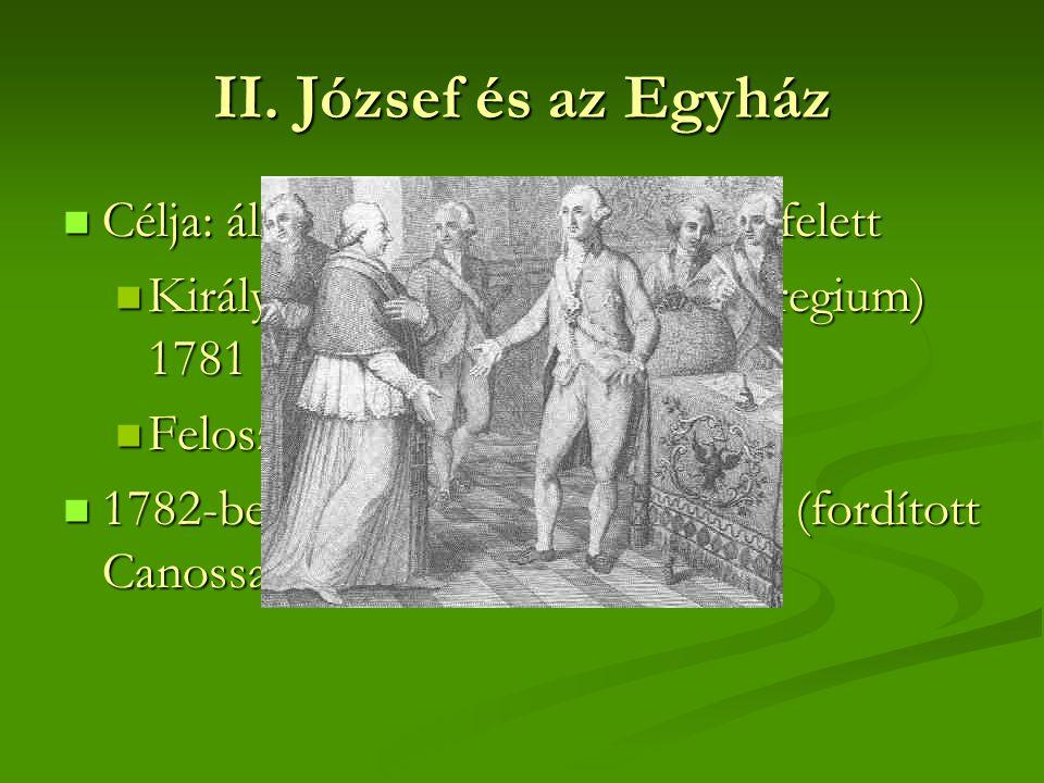 II. József és az Egyház Célja: állami ellenőrzés az egyház felett