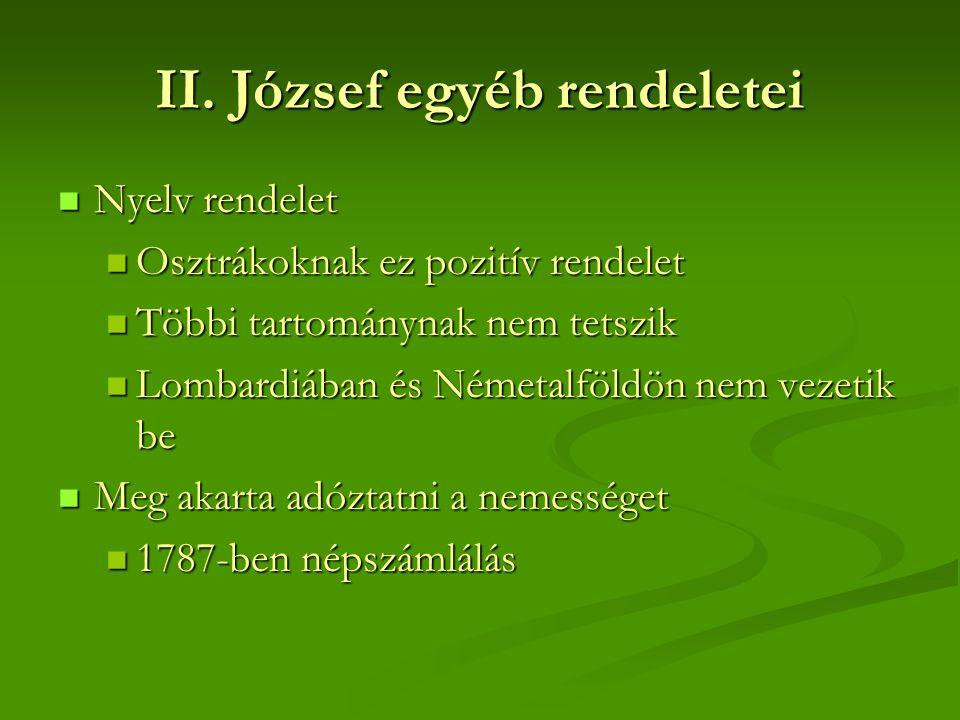 II. József egyéb rendeletei