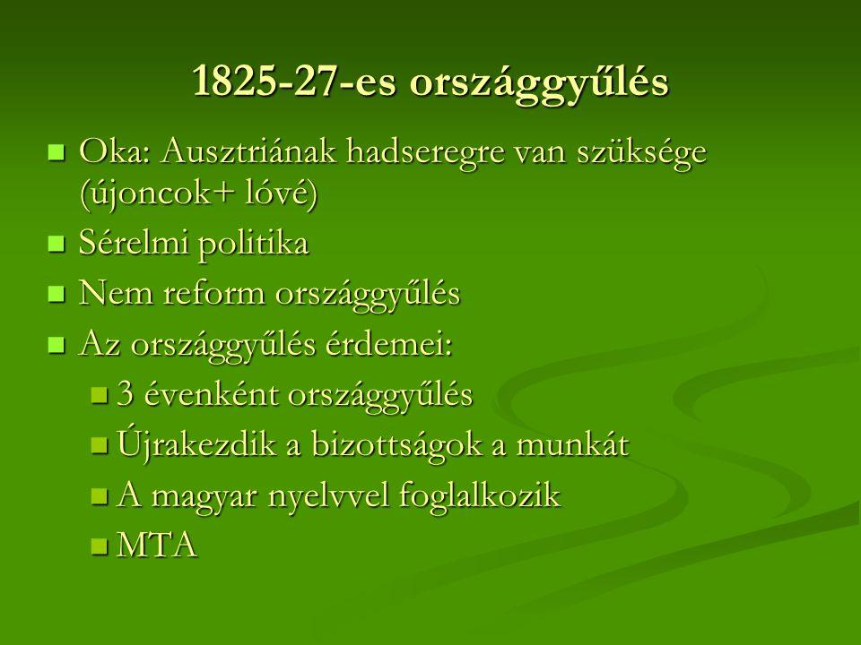1825-27-es országgyűlés Oka: Ausztriának hadseregre van szüksége (újoncok+ lóvé) Sérelmi politika.