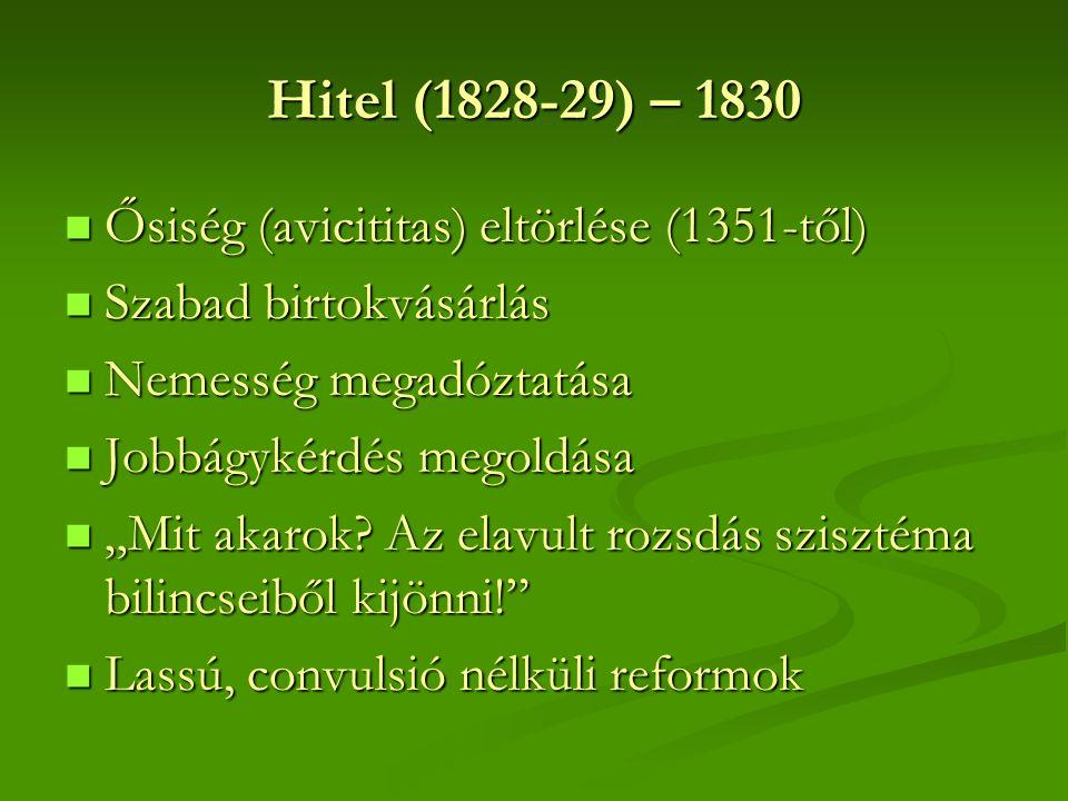 Hitel (1828-29) – 1830 Ősiség (avicititas) eltörlése (1351-től)