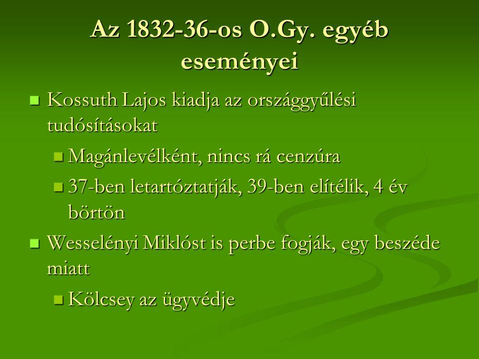 Az 1832-36-os O.Gy. egyéb eseményei