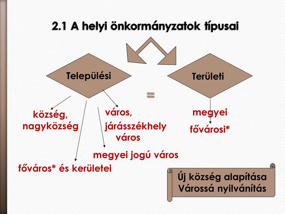 2.1 A helyi önkormányzatok típusai