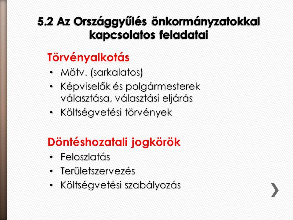 5.2 Az Országgyűlés önkormányzatokkal kapcsolatos feladatai