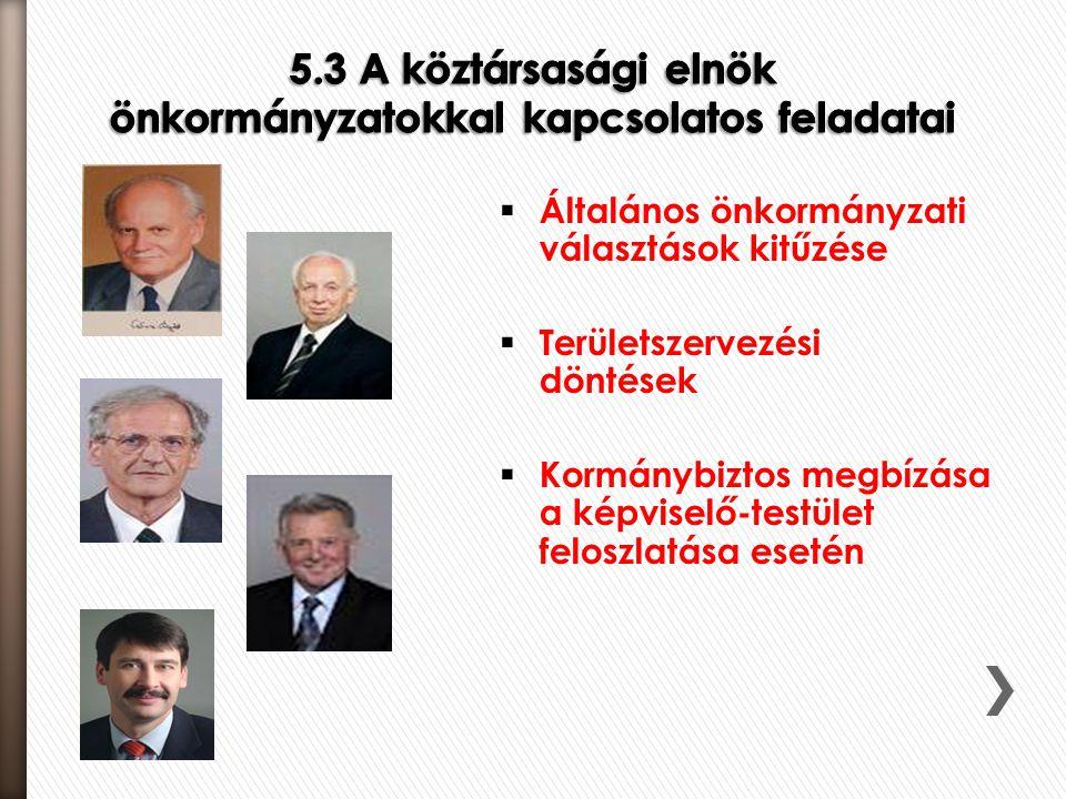 5.3 A köztársasági elnök önkormányzatokkal kapcsolatos feladatai