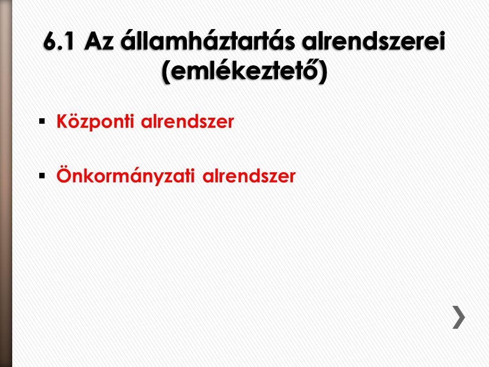 6.1 Az államháztartás alrendszerei (emlékeztető)