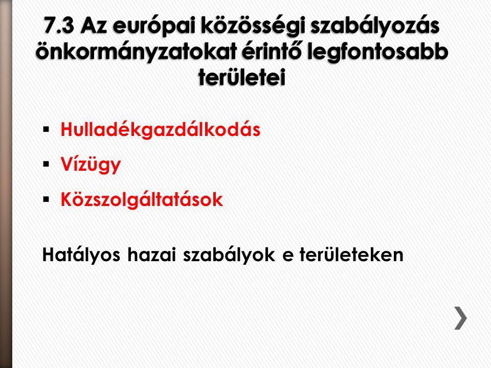 7.3 Az európai közösségi szabályozás önkormányzatokat érintő legfontosabb területei