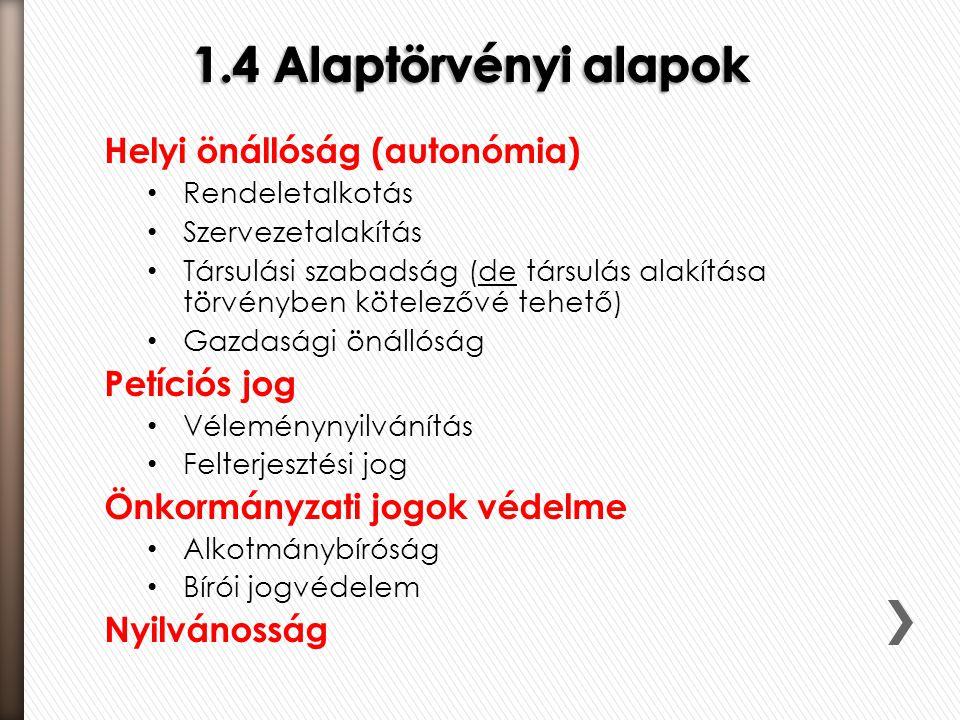 1.4 Alaptörvényi alapok Helyi önállóság (autonómia) Petíciós jog