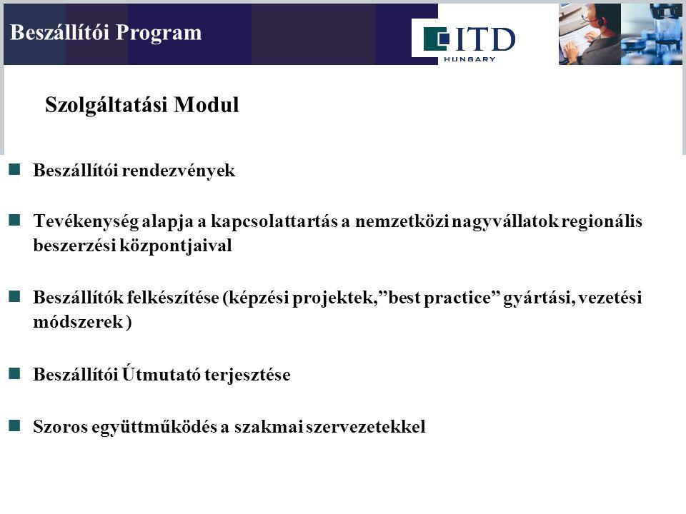 Szolgáltatási Modul Beszállítói Program Beszállítói rendezvények