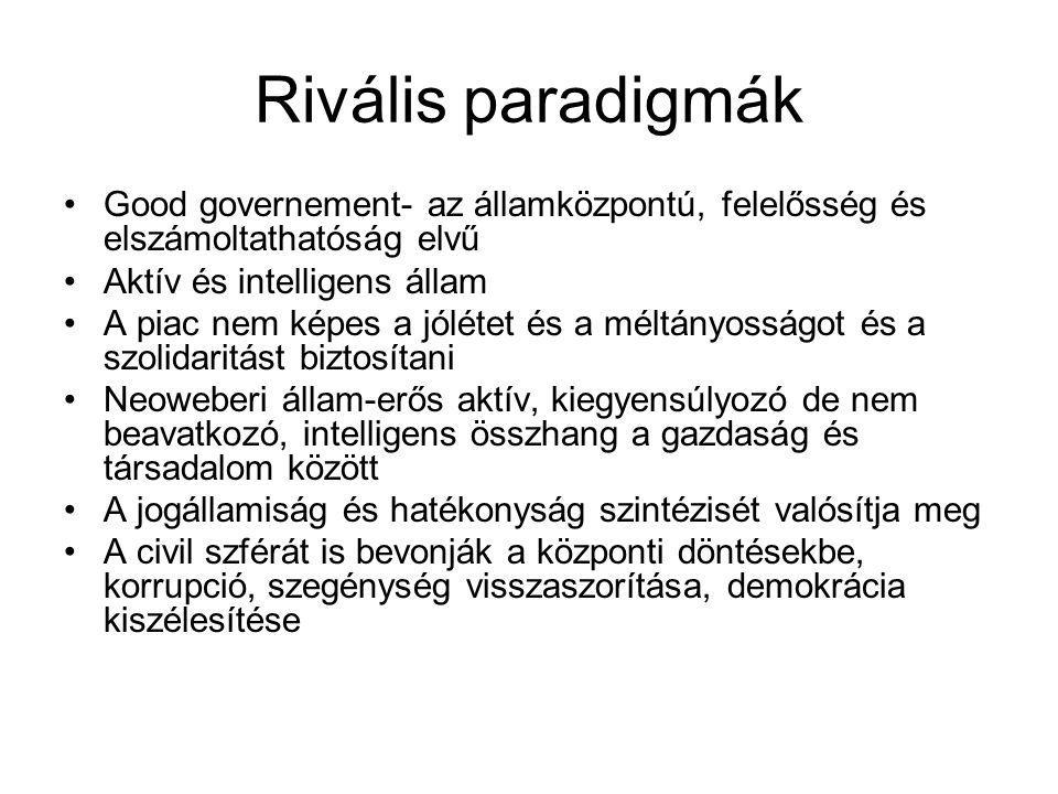 Rivális paradigmák Good governement- az államközpontú, felelősség és elszámoltathatóság elvű. Aktív és intelligens állam.