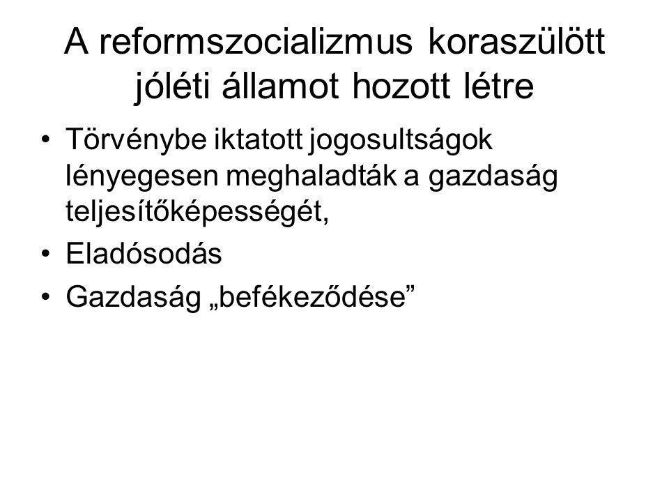 A reformszocializmus koraszülött jóléti államot hozott létre