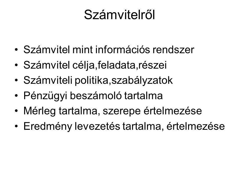 Számvitelről Számvitel mint információs rendszer