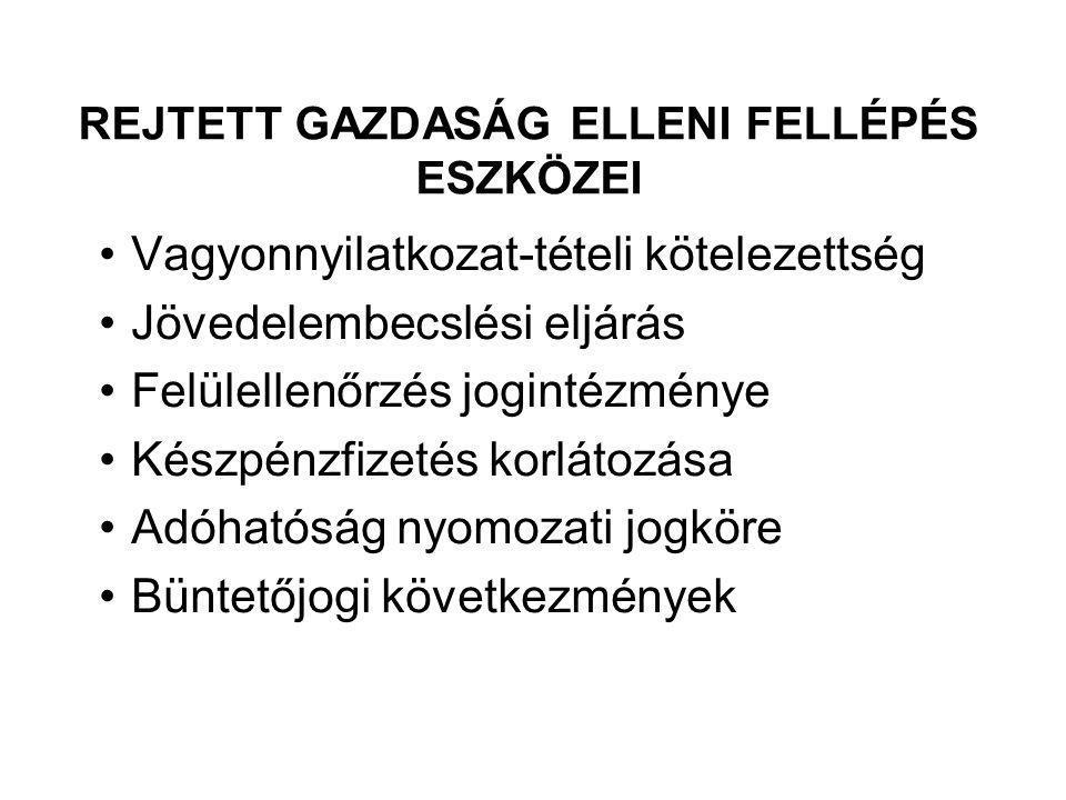 REJTETT GAZDASÁG ELLENI FELLÉPÉS ESZKÖZEI