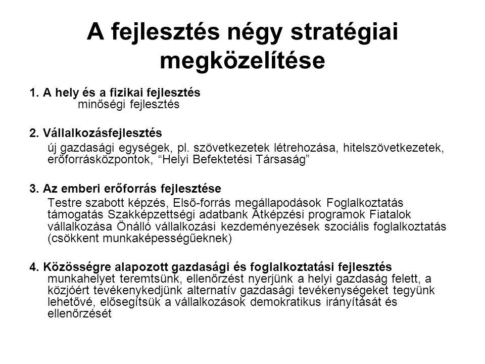 A fejlesztés négy stratégiai megközelítése