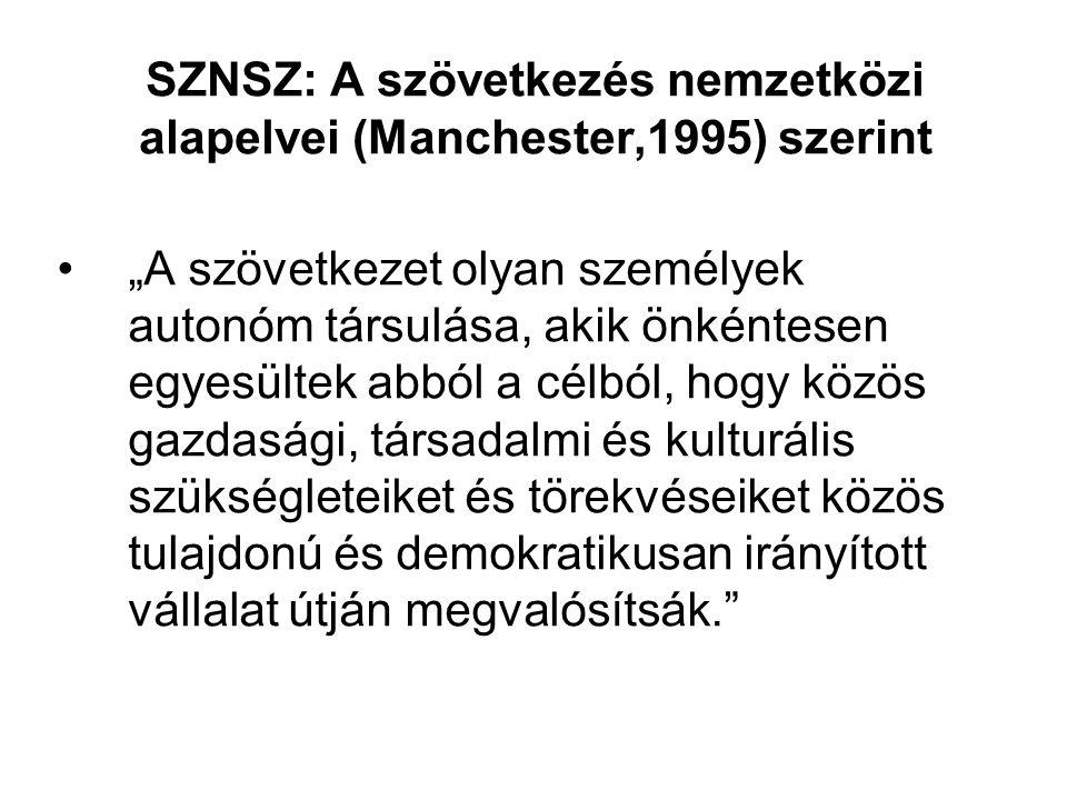 SZNSZ: A szövetkezés nemzetközi alapelvei (Manchester,1995) szerint