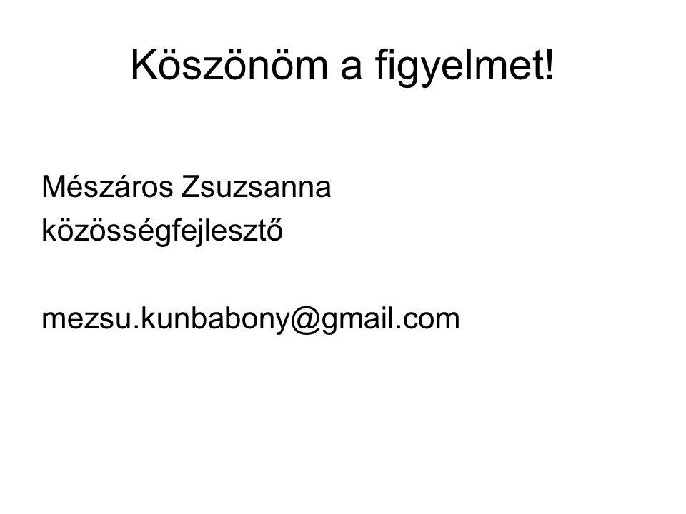 Köszönöm a figyelmet! Mészáros Zsuzsanna közösségfejlesztő mezsu.kunbabony@gmail.com
