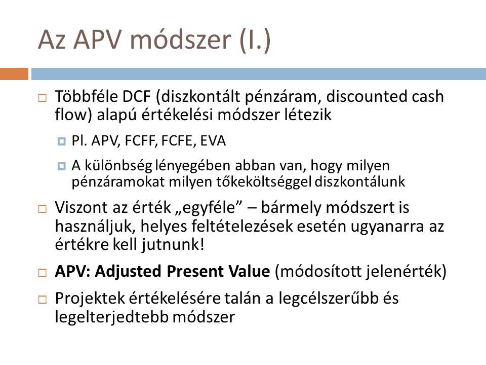 Az APV módszer (I.) Többféle DCF (diszkontált pénzáram, discounted cash flow) alapú értékelési módszer létezik.